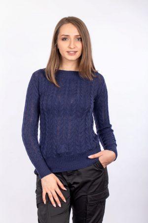 Pulover dama cashmere-Bleumarin